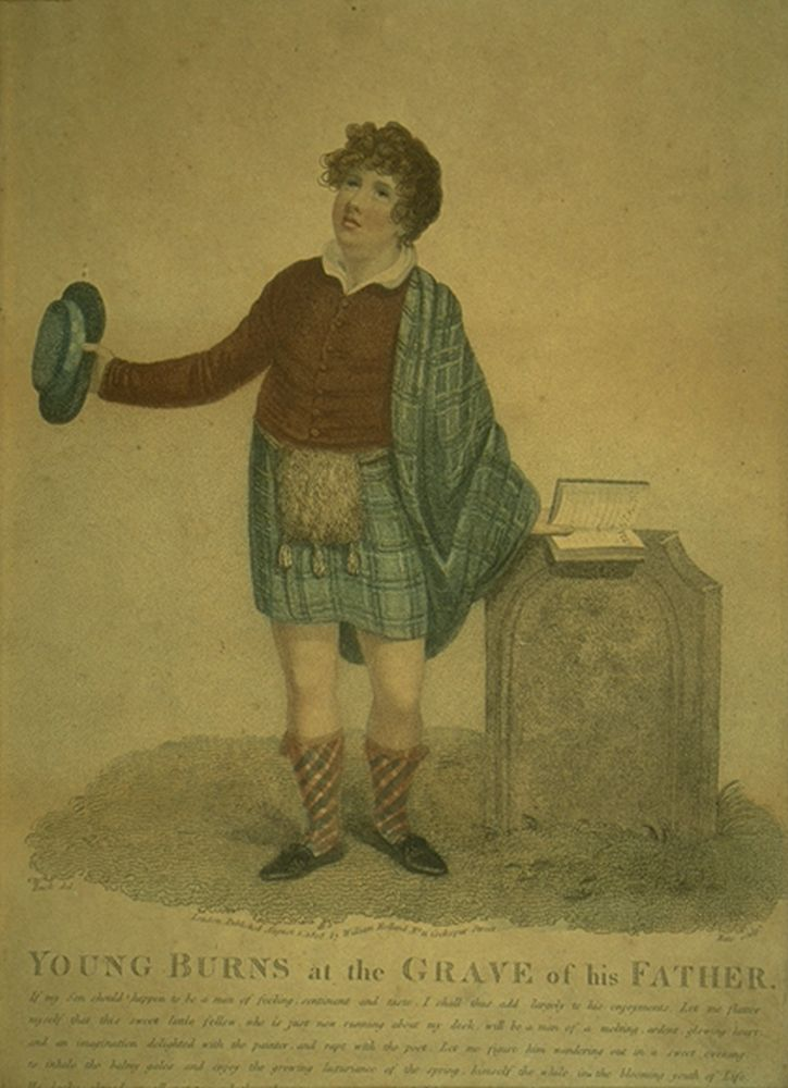 Engraving showing ' Young Robert Burns at the grave of his father'