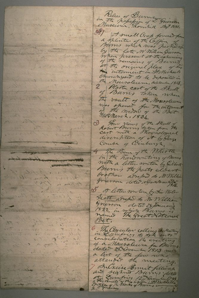 List of 'Relics of Burns', collected by Dr T B Grierson
