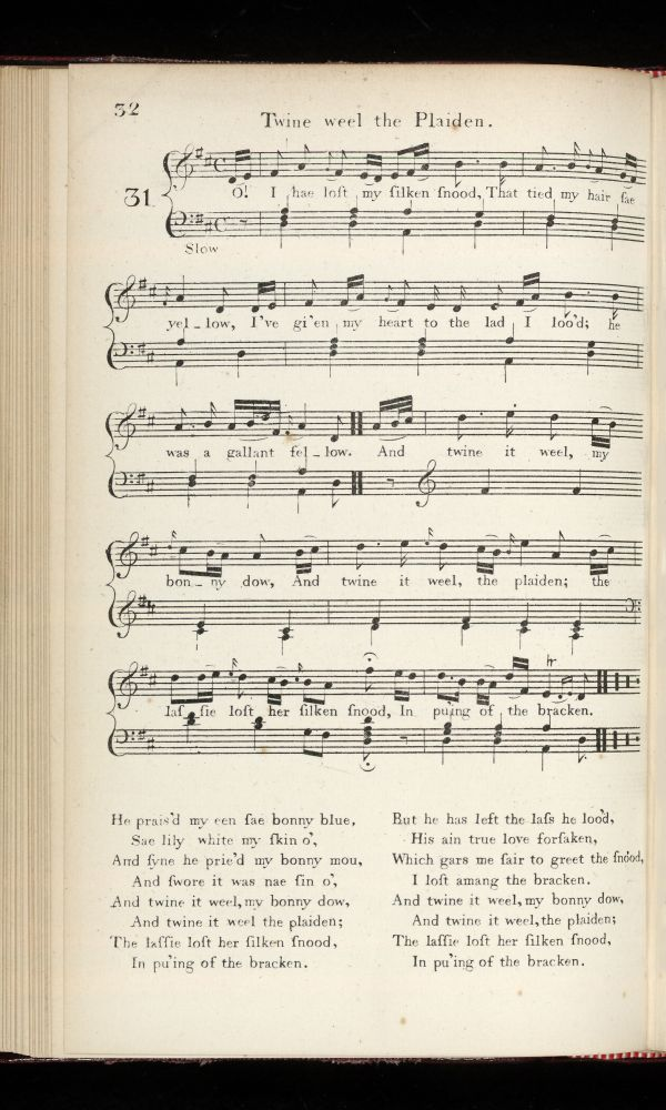 Volume I, song 031, page 32 - 'Twine weel the Plaiden'