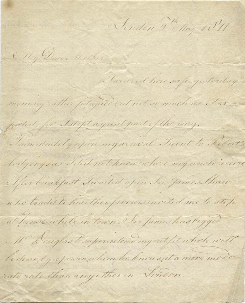 MS: Letter from James Glencairn Burns to Mrs Jean Burns, dated London, 8 May 1811