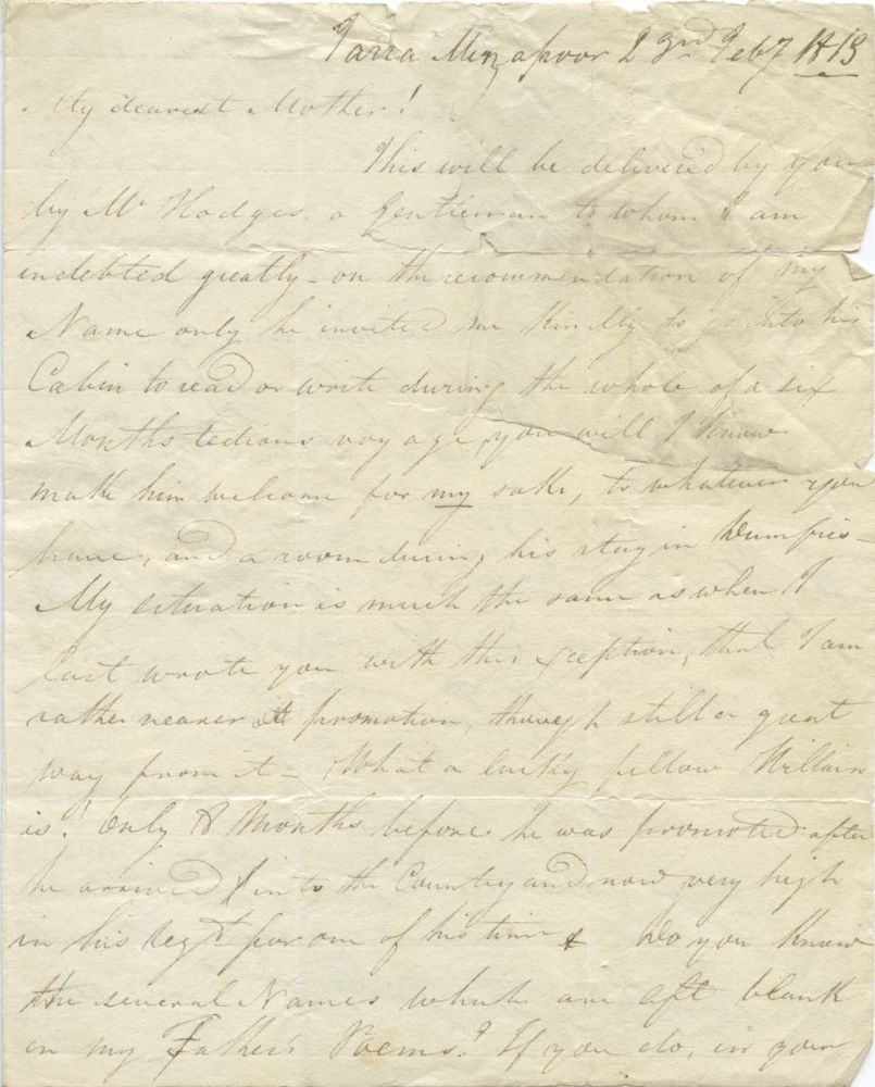 MS: Letter from James Glencairn Burns to Mrs Jean Burns, dated Jarra Mirzapore, 22 February 1813
