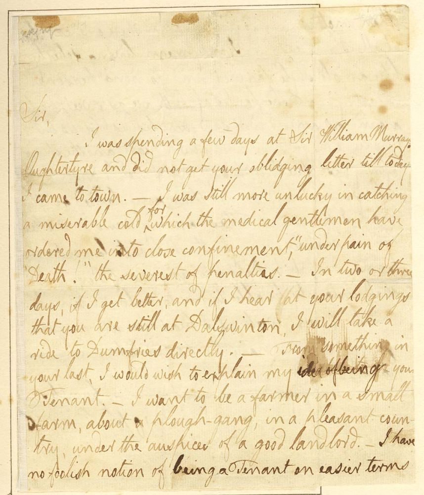 MS: Letter from Robert Burns to Peter (Patrick) Miller, Dalswinton, dated Edinburgh, 20th October 1787
