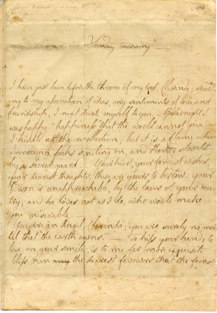 MS: Letter from Robert Burns to Mrs Agnes McLehose, dated 3 February 1788
